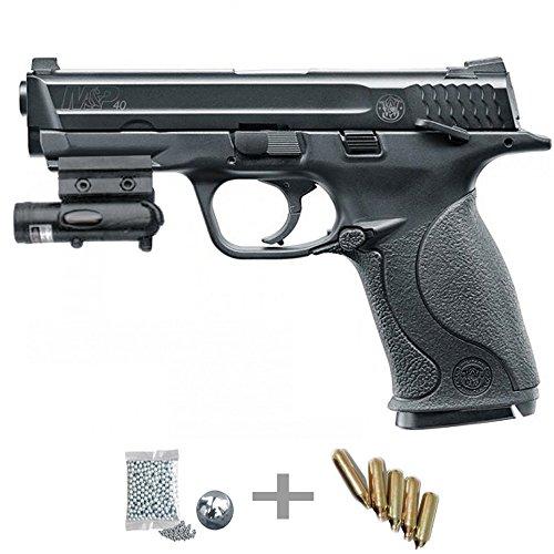 KIT Umarex Smith&Wesson MP40 CO2 LÁSER - Pistola de aire comprimido (CO2) y balines de acero (perdigones BBS) calibre 4.5mm. Réplica + accesorios <3,5J