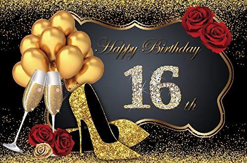 Toile de Fond d'anniversaire Joyeux 50e 40 30 25 18 fête d'anniversaire Or à Pois Affiche Photo Fond Photocall Photo Studio A26 9x6ft / 2.7x1.8m