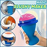 Quick-Frozen Smoothies Squeezy Peasy Slushy Cup Ice Cream Maker Cooling Bottl, Milk Shake Maker Cooling Cup Squee - Smoothie Kit (Blue)