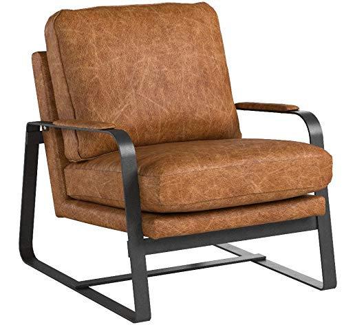 Rivet-Summit-Mid-Century-Modern-Top-Grain-Leather-Steel-Armed-Accent-Chair-27W-Cognac