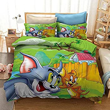 X/Y Tom and Jerry Bedding Set for Kids Super Soft Cartoon Cat and Mouse Duvet Cover 3Pcs with Zipper Closure 1 Duvet Cover 2 Pillowcase Queen Size 90x90inch,No Comforter