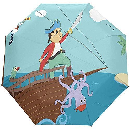 Merle House Regenschirm Clipart - Pirate Boa Golf Travel Sun Regen Winddicht Auto Regenschirme mit UV-Schutz für Mädchen Jungen Kinder