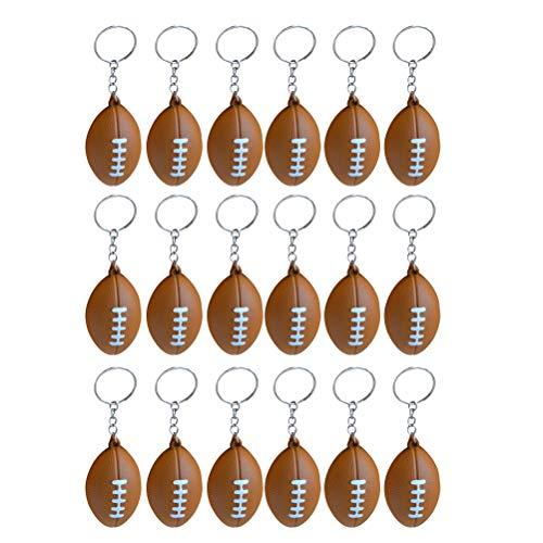 LIOOBO 8 Stücke American Football Schlüsselanhänger Rugby PU Schlüsselanhänger Souvenirs Anhänger Spielzeug für Spieler Athleten Jungen Teamkollegen (Hellbraun) Sportzubehör