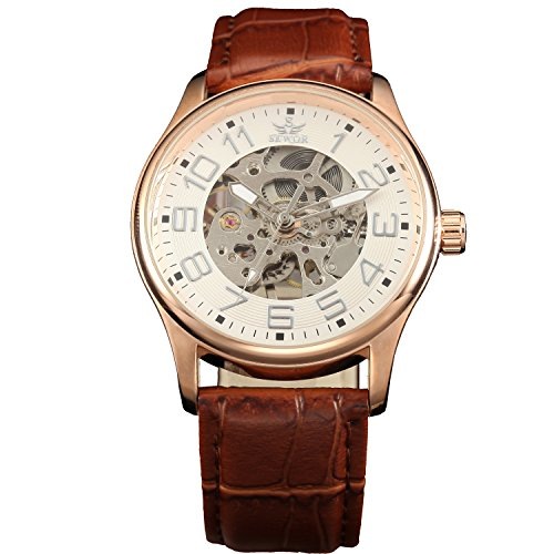 SEWOR Herren Mechanische Skelett aufziehbar transparent Armbanduhr