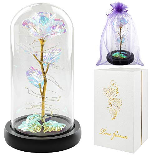 Gifts for mom,Mother Day Rose Gift,Colorful Artificial Flower Rose Gift,Light Up Rose Flowers Gift,Forever Rose in Glass Dome,Mom Gifts for Women Gifts Idea for Mother's Day,Mom Brithday,Anniversary