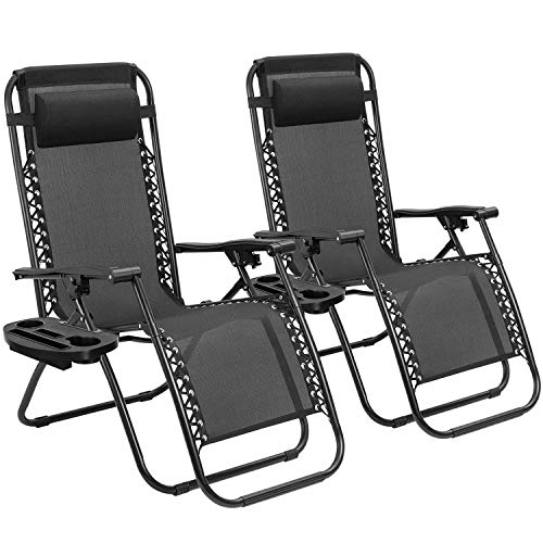 Tuoze Zero Gravity Chairs Adjustable Outdoor Folding Lounge Patio Chairs with Pillow Recliners for Poolside, Beach, Yard Set of 2 (Black)