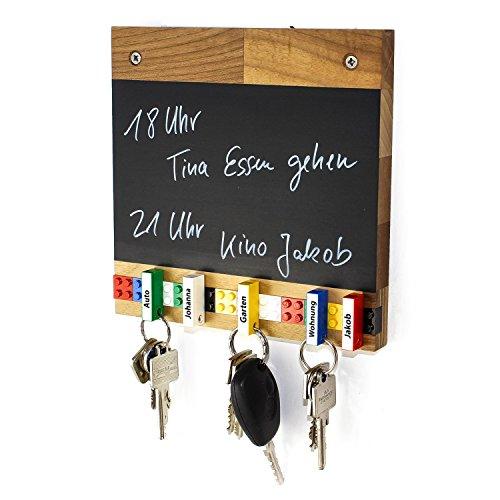 Schlüsselbrett Play 204 Holz | Für die ganze Familie | Schlüsselleiste Nussbaum mit 5 Schlüsselanhängern zum selbst beschriften | Memoboard Tafel mit Kreidestift | bunt