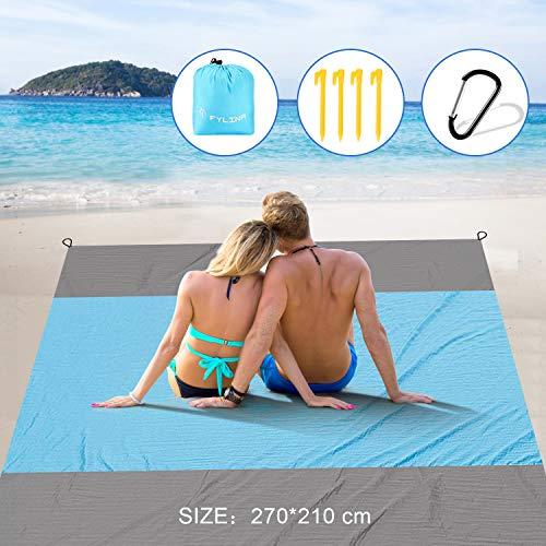 FYLINA Stranddecke 270 x 210 cm XXL Picknickdecke Wasserdicht mit Kleiner Beutel Sandfreie Stranddecke Campingdecke 4 Heringen, Picknick Strand Matte für den Strand, Campen, Wandern und Ausflüge,Blau
