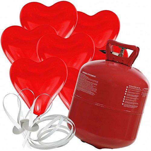 doriantrade.de 50 Herz Luftballons freie Farbwahl mit Helium Ballon Gas Hochzeit Valentinstag Komplettset (Rot)