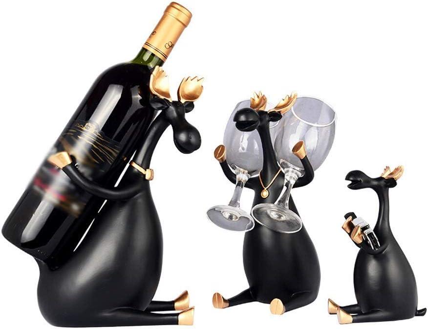 QTBH Botelleros Botellero de Escultura Creative Three Between The Decorative Wine Rack Hogar Salón Comedor Vinoteca Decoración Wine Rack Estante de Almacenamiento de Vino (Color : Black, Edition : A)