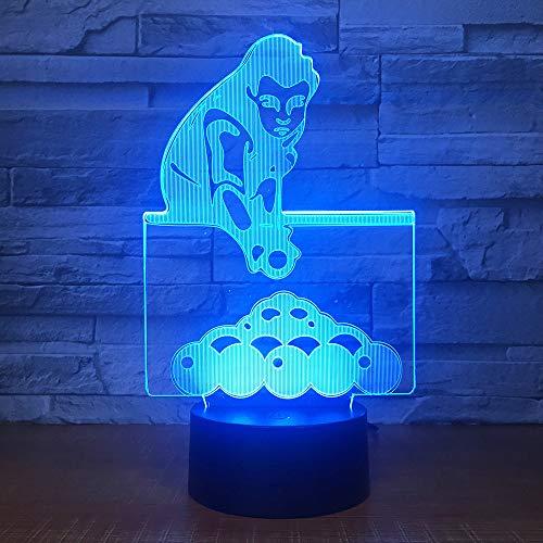 3D Led Optische Täuschungslampen Billardspiel Nachtlicht, 7 Farben Touch Art Skulptur Lichter Schlafzimmer Schreibtisch Tischdekoration Lampe Für Kinder, Geburtstag Weihnachtsgeschenk