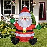Navidad inflable al aire libre sentado cara feliz de Papá Noel, despeje de decoración de patio inflado incorporado para vacaciones/fiesta/Navidad/patio/jardín