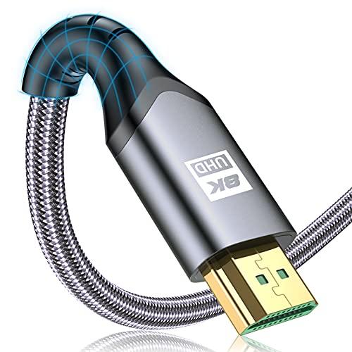 8K HDMI ケーブル 2m 【PS5 PS4対応】HDMI 2.1規格 ハイスピード 48Gbps 8K@60Hz 4K@120Hz/144Hz 7680x4320p 超高速 UHD HDR HDCP eARC 3Dイーサネット ARC hdmi ケーブル - 8K対応 hdmi2.1以下と互換性あり(グレー)