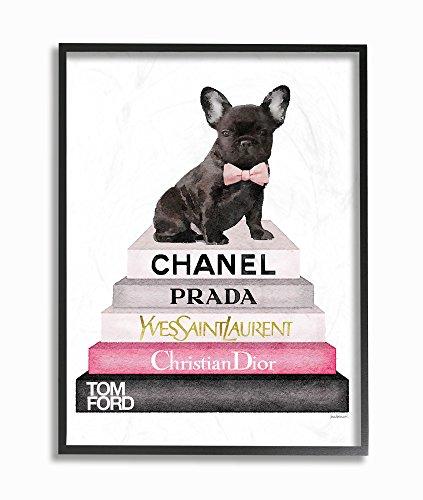 Stupell Industries Book Stack Fashion French Bulldog Black Framed Wall Art, 11 x 14, Design by Artist Amanda Greenwood