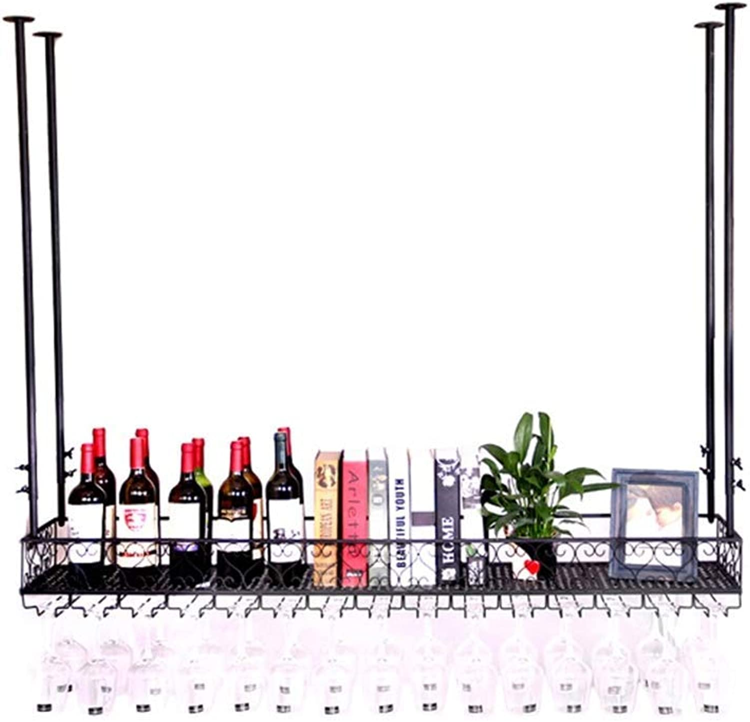 Red Wine Shelf Wine Cabinet 2 Tiers Ceiling Wine Racks Wall Mounted Hanging Wine Bottle Holder Metal Iron Storage Wine Glass Rack Goblet Stemware Racks Vintage Style Creative Bar Decoration Home Bar F