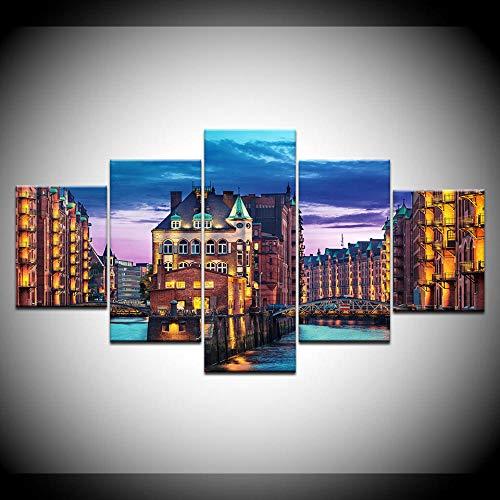 65Tdfc Leinwanddrucke Wandkunst Leinwand Malerei Ölgemälde 5 Stück Stadt Deutschland Hamburg Light Man Made Night Print Raumdekor Bild Leinwand