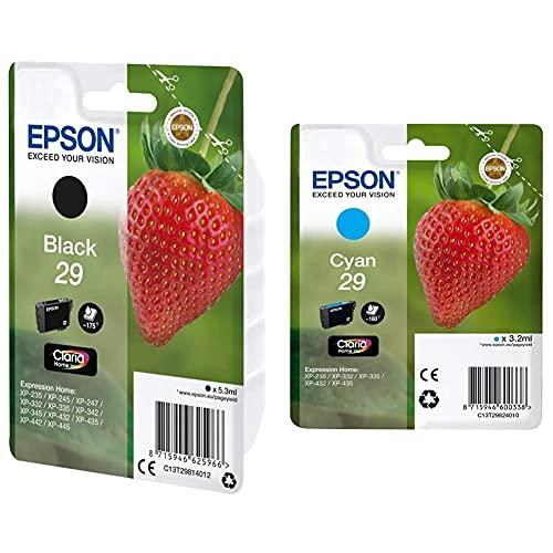 Epson C13T29814022 Cartucho De Tinta, Standard, Color Negro + Claria Home 29 Cartucho De Tinta Estándar De 3,2 Ml, Paquete Estándar