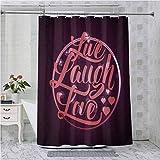 Cortinas de ducha para baño, vibrante romántica vintage sello inspirado en círculo popular refrán impreso, 72 pulgadas de largo cortina de baño con ganchos, coral ciruela blanco