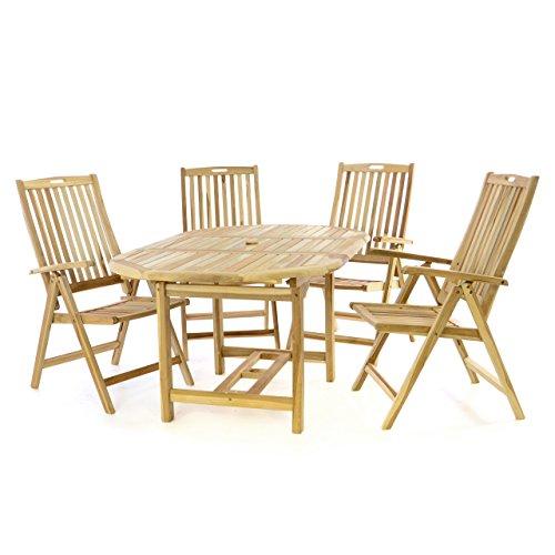 Divero Gartenmöbel-Set Terrassenmöbel-Garnitur Sitzgruppe – Esstisch 120/170 cm ausziehbar & 4 x Hochlehner mit Armlehne – Teakholz massiv Natur