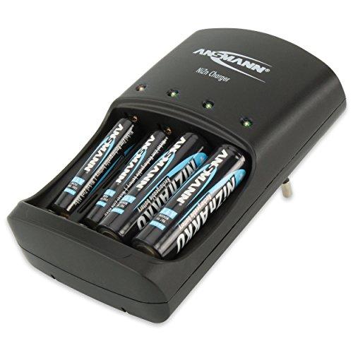 ANSMANN Nickel-Zink Akkuladegerät / Leistungsstarkes 4-fach Ladegerät für 1 6V NiZn AA oder AAA Akkus / Ideal für NiZn Hochleistungsakkus aus Fernbedienungen  Kameras uvm. / inkl. 4 AA NiZn Akkus