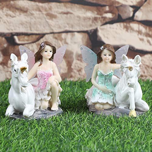 JUNIQUTE 2 Set Einhorn Feengarten Statuen Fee Schwester Figuren Skulptur Fee Engel Dekoration Haus und Garten Geburtstag Geschenk Vatertag