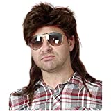 Kaneles Mullet Wigs for Men 70s 80s Costumes Mens Brown Fancy Party Accessory Cosplay Hair Wig