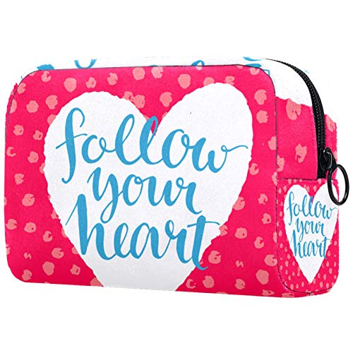 Travel Makeup Bag Large Cosmetic Bag Make up Case Organizer for Women and Girls Follow Your Heart Love ()