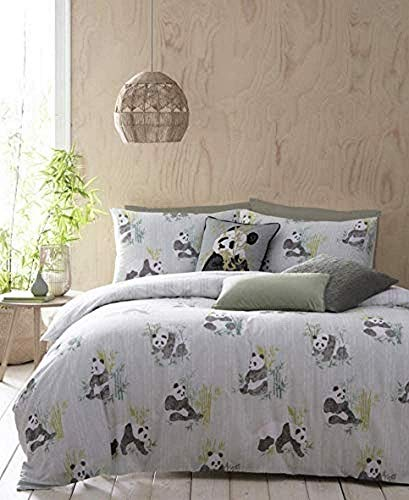 Furn Pandas Duvet Cover Set, Cotton, Mint, Double