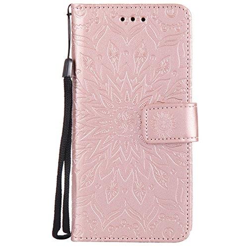 Capa para Galaxy S7 Edge, Dfly de couro sintético macio em relevo design mandala suporte para cartão, capa carteira protetora flip fina para Samsung Galaxy S7 Edge (2016), ouro rosa