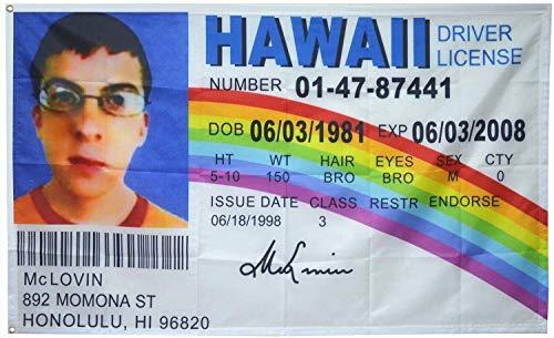 BettiCharm McLovin Fake ID Flag Banner 3x5Ft College Dorm Room Man Cave Frat Wall Outdoor Flag Bunting…