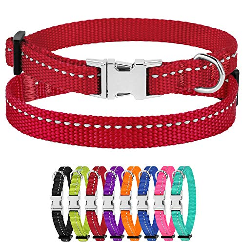 """CollarDirect Small Dog Collar Nylon Reflective Puppy Collar Adjustable with Metal Buckle Black Pink Mint Green Lime Orange Red Purple Blue (Neck Fit 7""""-11"""", Red)"""