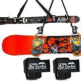 Fat Cookie Outdoors - Correa para Transportar Tablas de Snowboard, esquís y Bastones Par de Correas de esquí con Correa de Hombro Ajustable para niños, Hombres y Mujeres. Juego de 2 Unidades