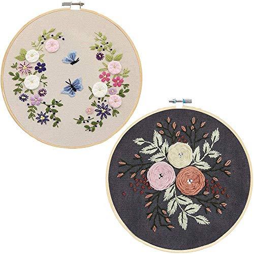 Huante DIY Embroidery Starter Kit Kreuzstich-Kit mit Reifen, Gestempeltem Stickstoff, FarbffDen (2 StüCk)