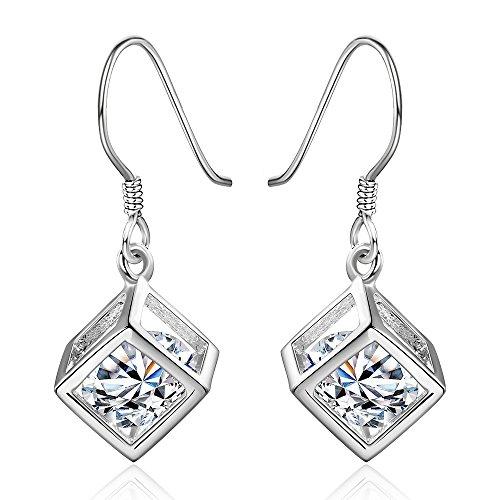 Ohrringe, geometrisch, quadratisch, Damen, Silber, Weihnachtsgeschenke, modischer Charme, für Damen und Mädchen