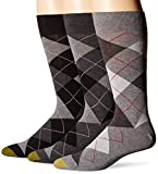 Gold Toe Men's 3-Pack Carlyle Argyle Crew Sock, Black Grey Mix, Shoe Size: 6-12.5