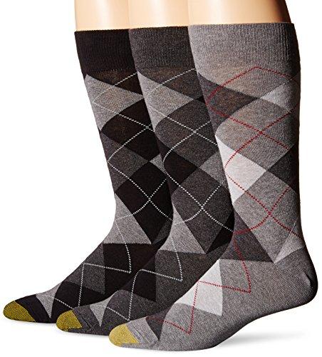 Gold Toe Men's Carlyle Crew Socks, 3 Pairs, Black Grey Argyle Mix, Shoe Size: 6-12