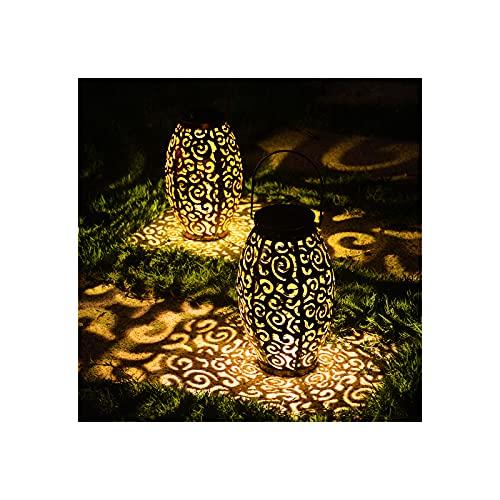 Linterna solar, luces solares para colgar al aire libre con mango de metal, impermeable, decorativas para jardín, para patio, porche, camino, paquete de 2 (bronce)