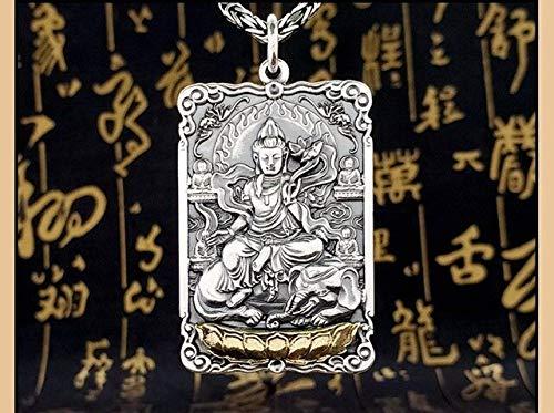 K-ONE S999 Colgante Life Guardian Buddha Pure Argentum Vajra Pestle Amuleto de la Verdad de Seis Caracteres para Hombres y Mujeres-Samantabhadra
