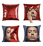 Robert Downey Jr. Smoking Cigarette_MA0298 Sequins 16x16 Pillow Cover with 18x18 inch Insert Girly Stuff Boys Xmas Present (Cover + Insert)
