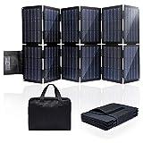 Banco de energía solar, panel solar plegable de 100 W con 12 paneles solares plegables y 3 puertos de carga, cargador de teléfono portátil para acampar, senderismo, compatible con teléfonos inteligent