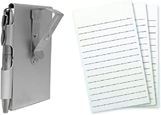 Wellspring Metal Visor Clip Flip Note Case With Pen and 3 Pack Refill, Bundle (Silver)