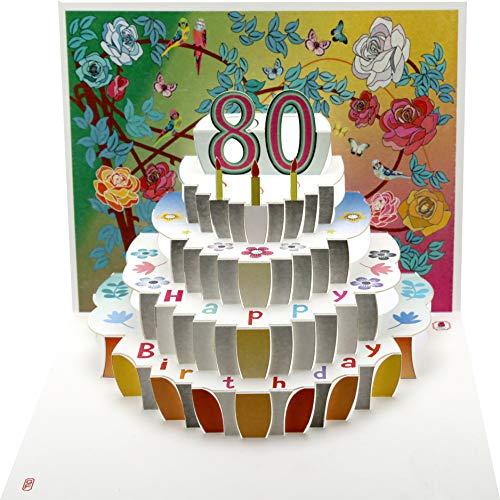FOREVER 80 Geburtstag Pop Up 3D Laser Karte Gutschein Torte 16x11cm