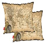 BaoNews Coastal Nautical Decorative Pillow Covers, Compass On Ancient Map of The World with Torn and Scorched Edges Pillow Covers 20X20 Inch Cotton Square Cushion Decorative Pillow Case for Sofa Bed