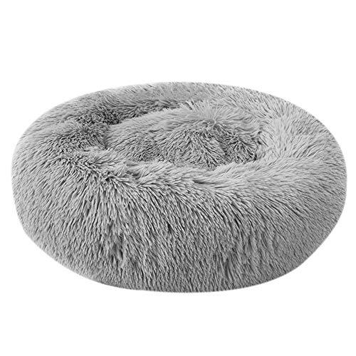 Festnight Haustierbett, Katzenbett Plüsch Haustierbett, Rundes Plüsch-Katzenbett-Hundehaus-Welpen-Kissen-tragbare warme weiche Bequeme Hundehütte 40/50/60/70/80/100CM (XXXL, Grey)