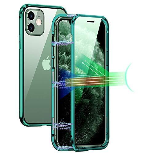 Custodia Adsorbimento Magnetico per iPhone 11, Protezione Degli Occhi Case Magnetica con Vetro Temperato Verde Fronte e Retro Cover Paraurti Metallo, 360 Gradi Custodia Protettiva per iPhone 11 6.1''