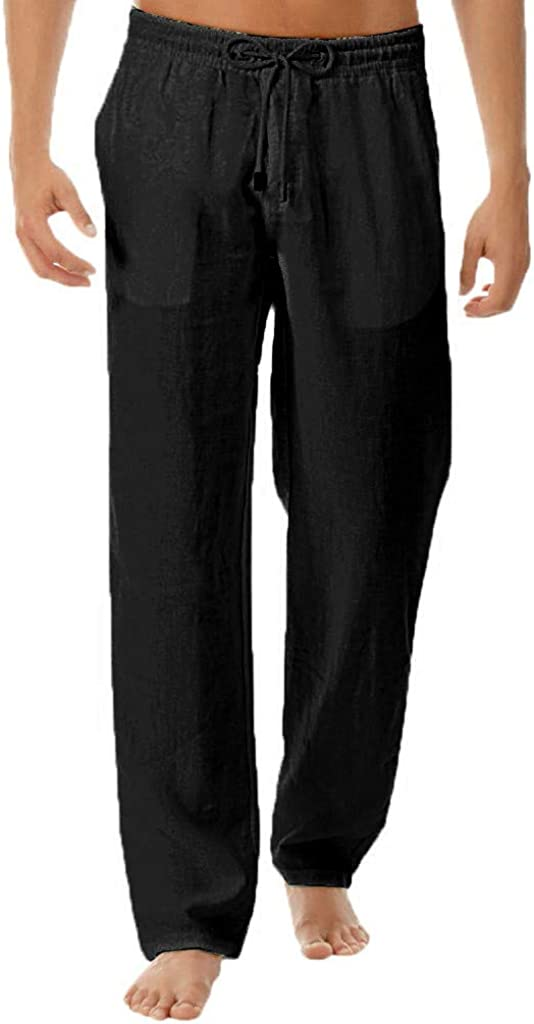AKIMPE Mens Linen Loose Casual Lightweight Fit Straight-Legs Stretchy Waist Beach Pants