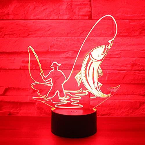 Eld Luz de Noche LED 3D Pesca de Peces Grandes con luz de 7 Colores para la lámpara de decoración del hogar Visualización increíble Ilusión óptica Regalo del día de los niños Impresionante