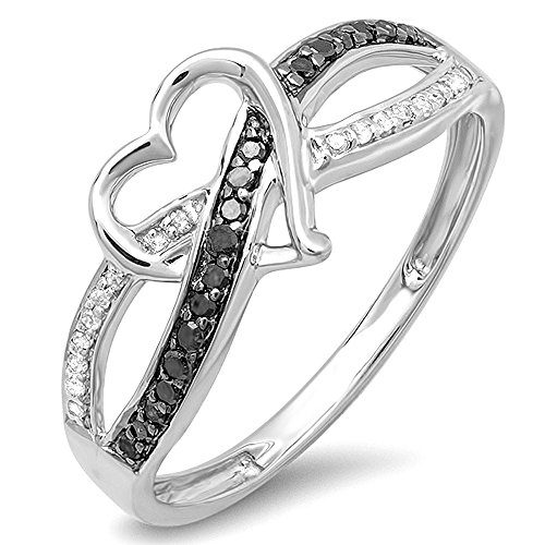 Dazzlingrock Collection 0.20 Carat (ctw) Sterling Silver Round Black & White Diamond Ladies Promise Heart Love Criss Cross Overlap Engagement Ring 1/5 CT, Size 6.5 -  K1211-6.5