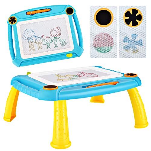 DUTISON Ardoise Magique Enfant Tableau De Dessin Magnétique Coloré à Multicolore Format lanche à Dessin Effaçable Aimant pour Bébés Loisir Créatif Jouet Educatif (Bleu)