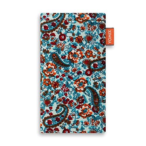 YOMIX Lilly Handytasche Tasche für Wiko Harry aus Cordstoff mit Microfaserinnenfutter | Hülle mit Reinigungsfunktion | Made in Germany